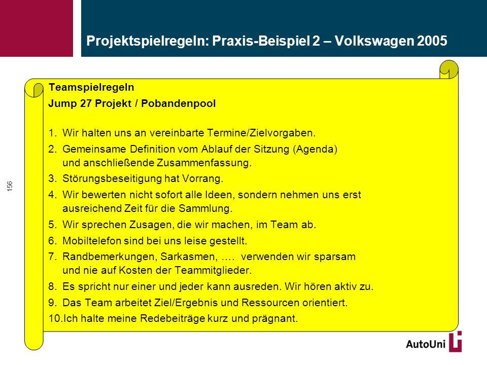 Projektspielregeln: Praxis-Beispiel 2 – Volkswagen 2005 Teamspielregeln Jump 27 Projekt / Pobandenpool 1.Wir halten uns an vereinbarte Termine/Zielvorgaben.