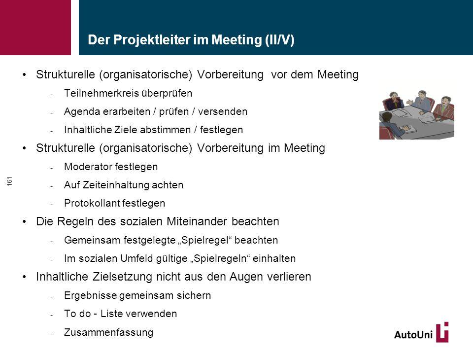 """Der Projektleiter im Meeting (II/V) Strukturelle (organisatorische) Vorbereitung vor dem Meeting - Teilnehmerkreis überprüfen - Agenda erarbeiten / prüfen / versenden - Inhaltliche Ziele abstimmen / festlegen Strukturelle (organisatorische) Vorbereitung im Meeting - Moderator festlegen - Auf Zeiteinhaltung achten - Protokollant festlegen Die Regeln des sozialen Miteinander beachten - Gemeinsam festgelegte """"Spielregel beachten - Im sozialen Umfeld gültige """"Spielregeln einhalten Inhaltliche Zielsetzung nicht aus den Augen verlieren - Ergebnisse gemeinsam sichern - To do - Liste verwenden - Zusammenfassung 161"""