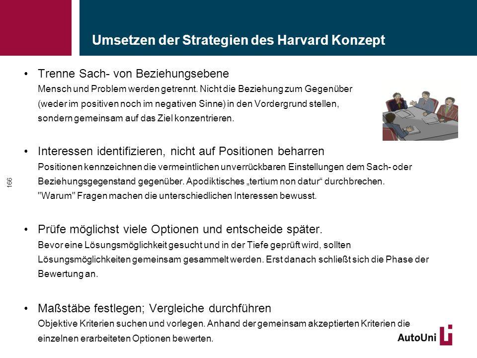 Umsetzen der Strategien des Harvard Konzept Trenne Sach- von Beziehungsebene Mensch und Problem werden getrennt.