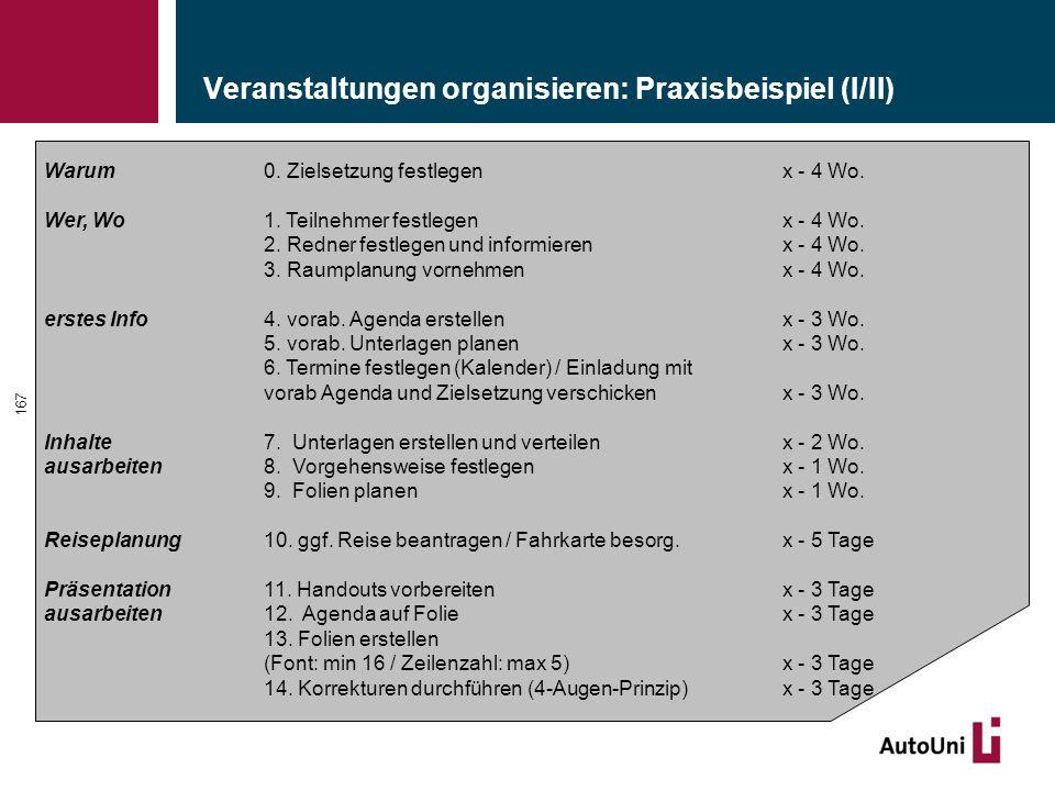 Veranstaltungen organisieren: Praxisbeispiel (I/II) 167 Warum 0.