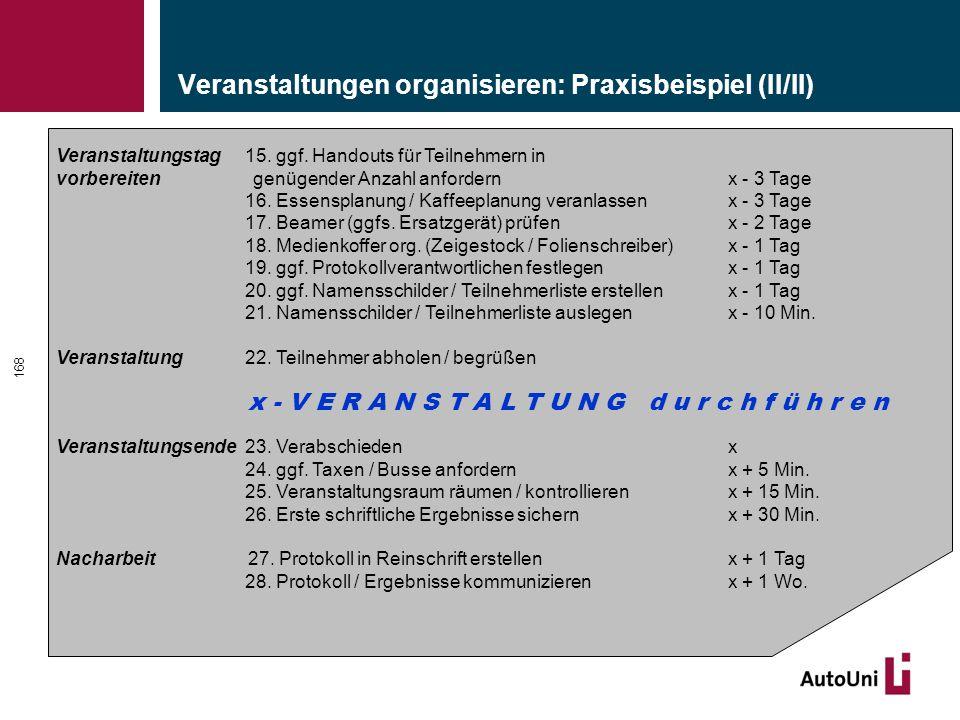Veranstaltungen organisieren: Praxisbeispiel (II/II) 168 Veranstaltungstag15.