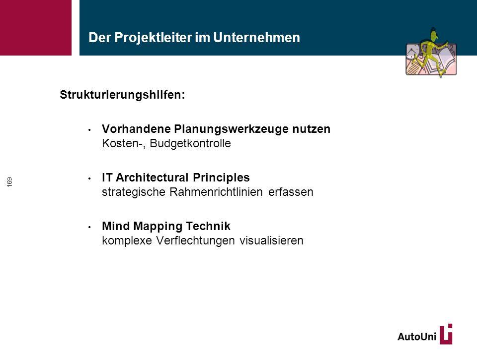 Der Projektleiter im Unternehmen Strukturierungshilfen: Vorhandene Planungswerkzeuge nutzen Kosten-, Budgetkontrolle IT Architectural Principles strategische Rahmenrichtlinien erfassen Mind Mapping Technik komplexe Verflechtungen visualisieren 169