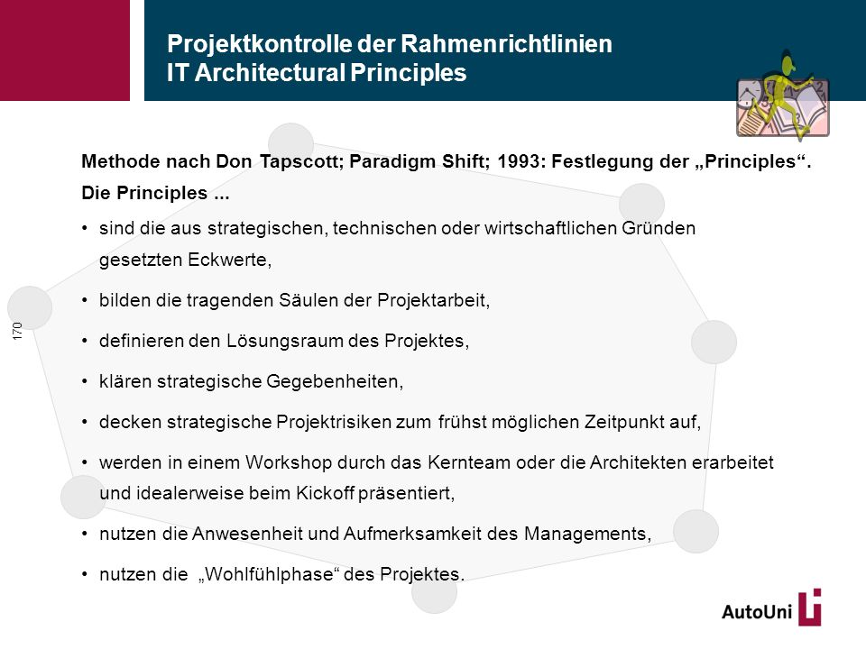 "Projektkontrolle der Rahmenrichtlinien IT Architectural Principles 170 Methode nach Don Tapscott; Paradigm Shift; 1993: Festlegung der ""Principles"". D"