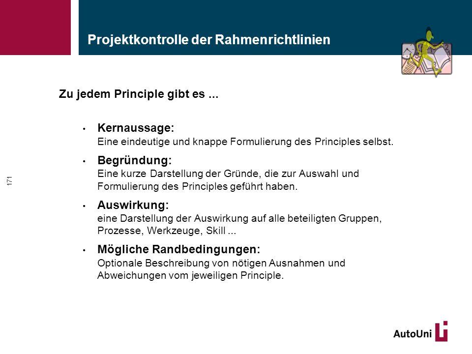 Projektkontrolle der Rahmenrichtlinien Zu jedem Principle gibt es...