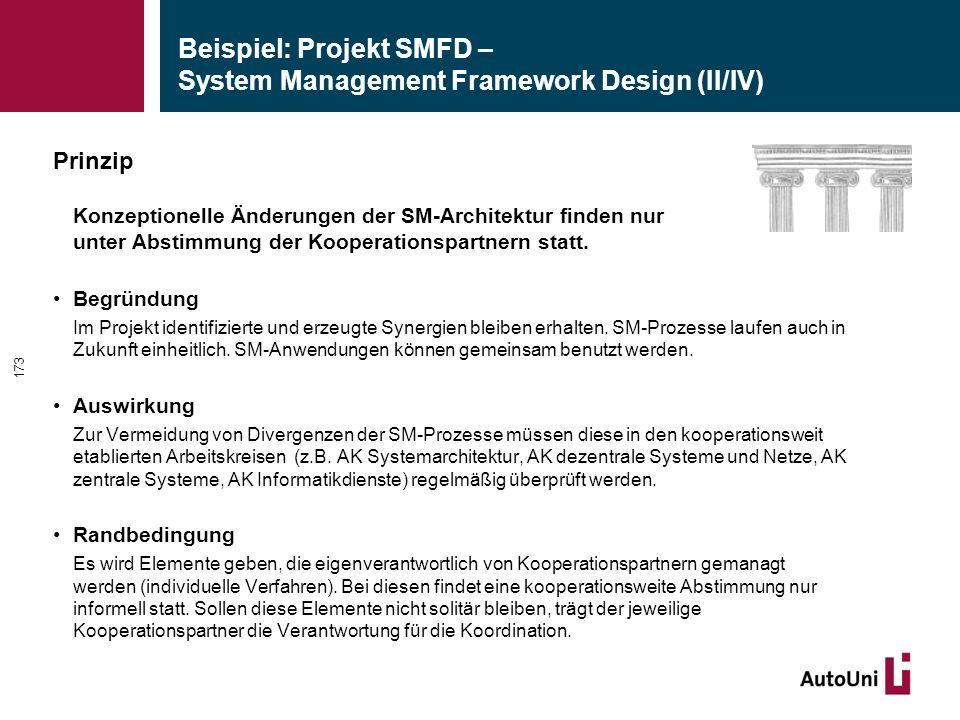Beispiel: Projekt SMFD – System Management Framework Design (II/IV) Prinzip Konzeptionelle Änderungen der SM-Architektur finden nur unter Abstimmung der Kooperationspartnern statt.