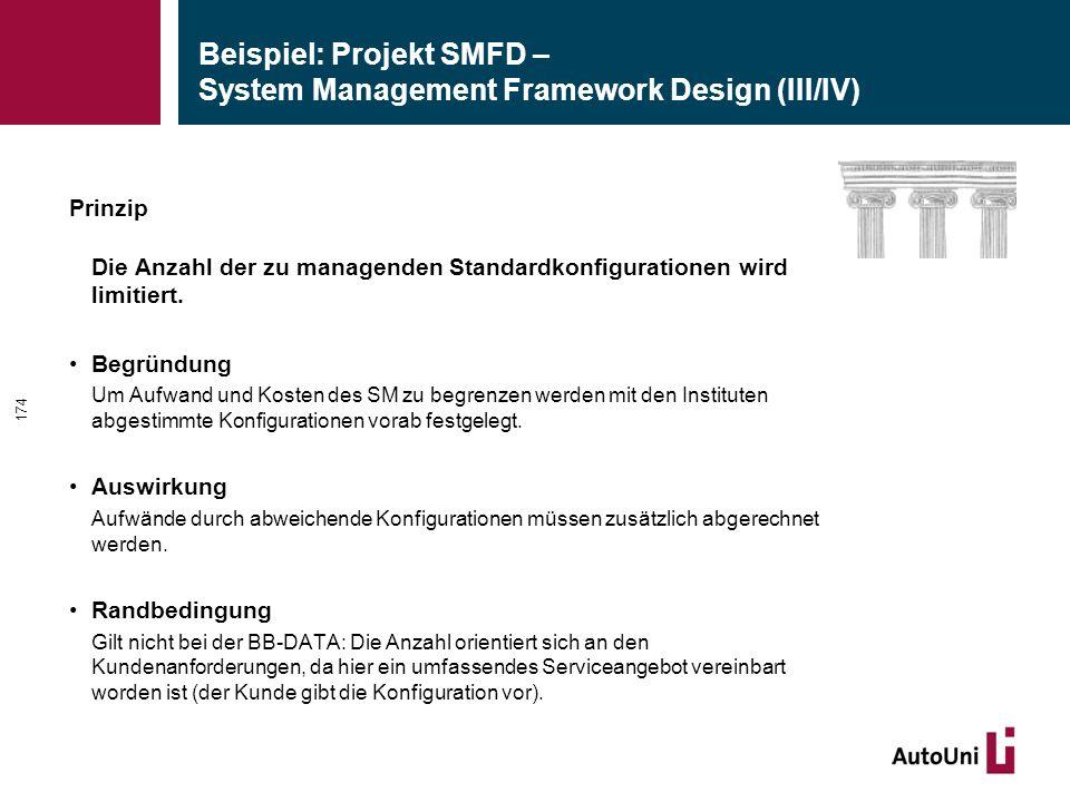 Beispiel: Projekt SMFD – System Management Framework Design (III/IV) Prinzip Die Anzahl der zu managenden Standardkonfigurationen wird limitiert.