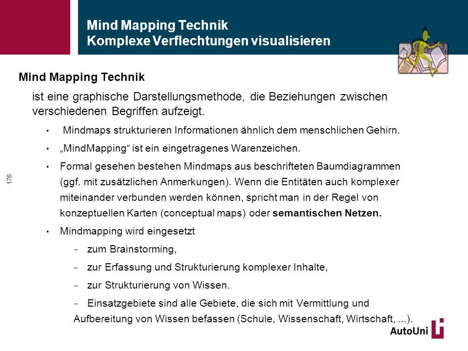 Mind Mapping Technik Komplexe Verflechtungen visualisieren Mind Mapping Technik ist eine graphische Darstellungsmethode, die Beziehungen zwischen verschiedenen Begriffen aufzeigt.