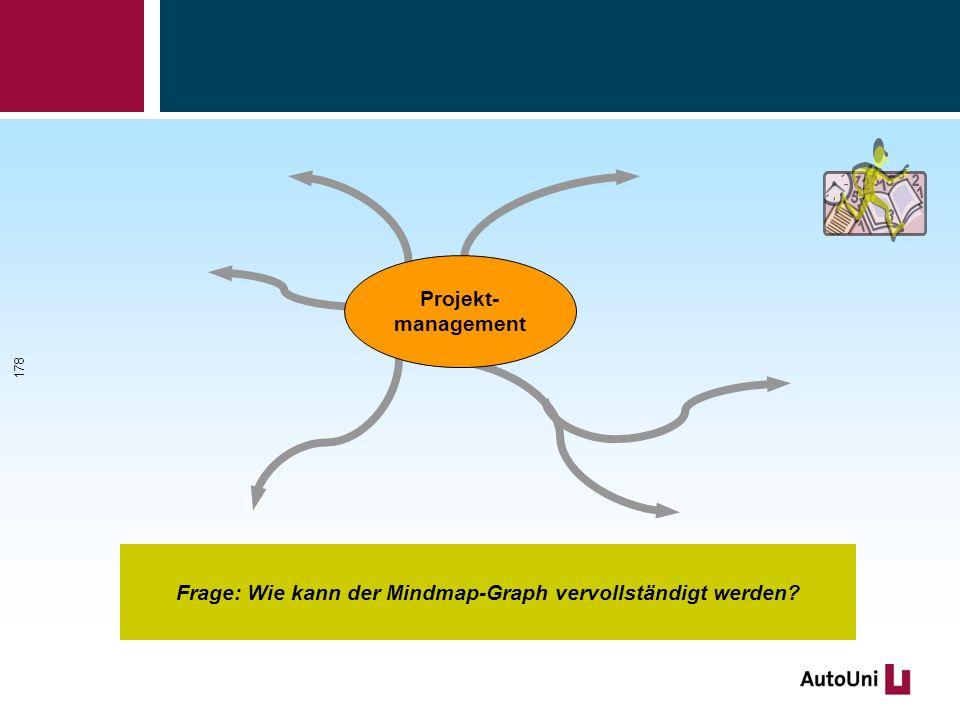 Projekt- management Frage: Wie kann der Mindmap-Graph vervollständigt werden? 178