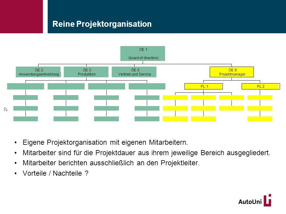ServerbetriebProzesskoordinationDatenserviceSystemarchitektur Unternehmenssteuerung Reine Projektorganisation Eigene Projektorganisation mit eigenen Mitarbeitern.