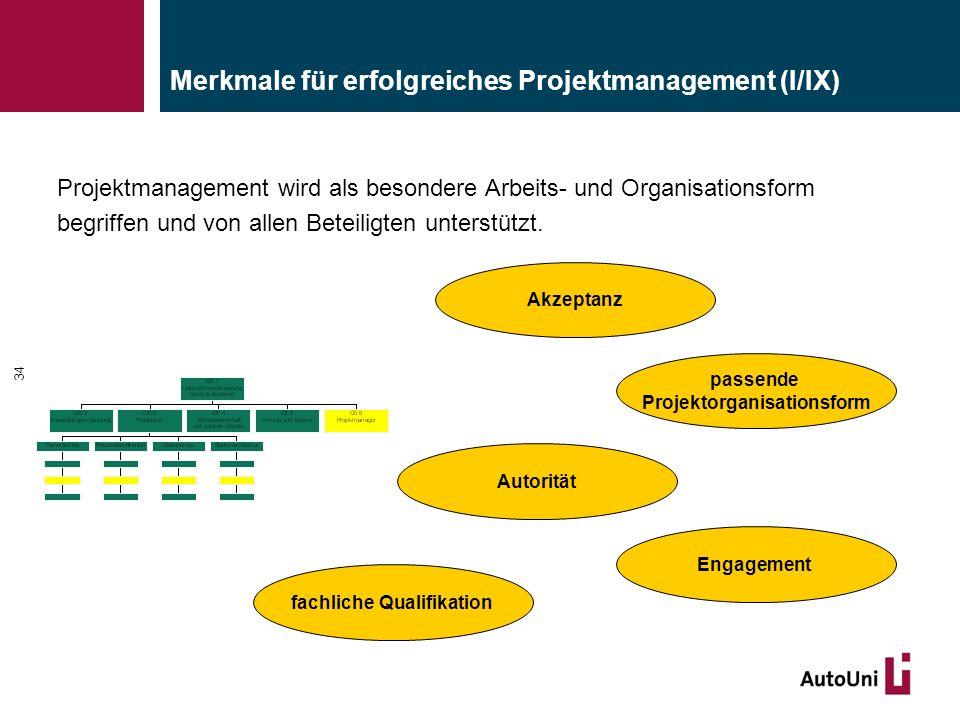 Merkmale für erfolgreiches Projektmanagement (I/IX) 34 Projektmanagement wird als besondere Arbeits- und Organisationsform begriffen und von allen Beteiligten unterstützt.