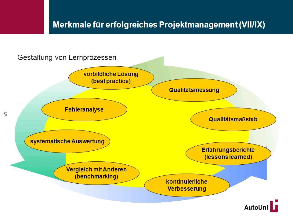 Merkmale für erfolgreiches Projektmanagement (VII/IX) 40 Gestaltung von Lernprozessen systematische Auswertung kontinuierliche Verbesserung Qualitätsmessung Fehleranalyse Erfahrungsberichte (lessons learned) Qualitätsmaßstab vorbildliche Lösung (best practice) Vergleich mit Anderen (benchmarking)