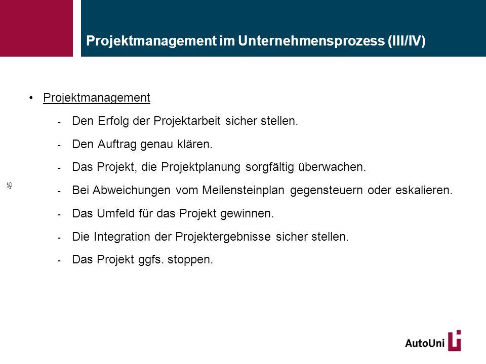 Projektmanagement im Unternehmensprozess (III/IV) Projektmanagement - Den Erfolg der Projektarbeit sicher stellen.