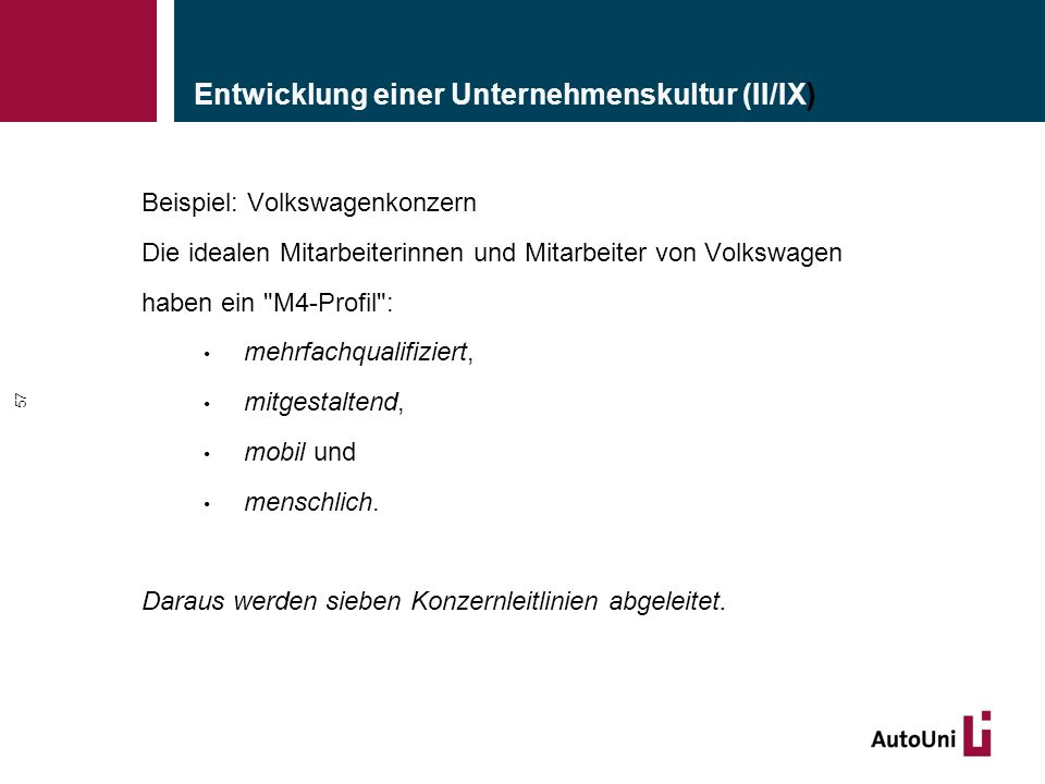 Beispiel: Volkswagenkonzern Die idealen Mitarbeiterinnen und Mitarbeiter von Volkswagen haben ein M4-Profil : mehrfachqualifiziert, mitgestaltend, mobil und menschlich.