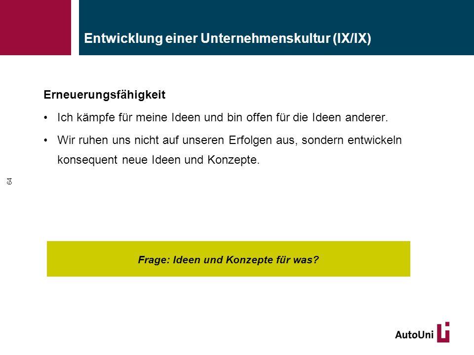 Entwicklung einer Unternehmenskultur (IX/IX) Frage: Ideen und Konzepte für was.