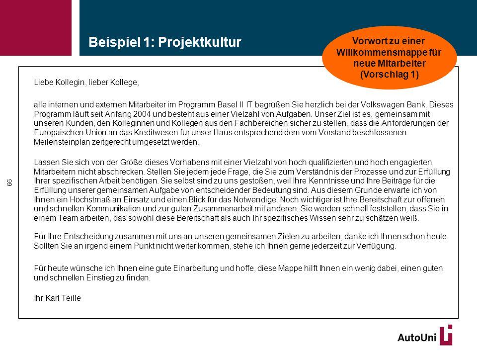 Beispiel 1: Projektkultur Liebe Kollegin, lieber Kollege, alle internen und externen Mitarbeiter im Programm Basel II IT begrüßen Sie herzlich bei der Volkswagen Bank.