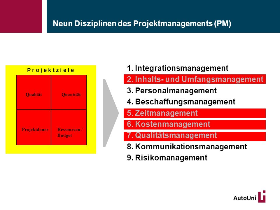 Neun Disziplinen des Projektmanagements (PM) 1.Integrationsmanagement 2.Inhalts- und Umfangsmanagement 3.Personalmanagement 4.Beschaffungsmanagement 5