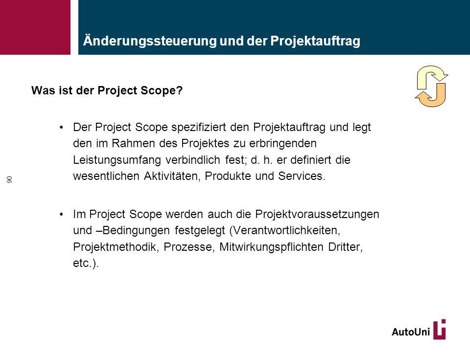 Änderungssteuerung und der Projektauftrag Was ist der Project Scope.