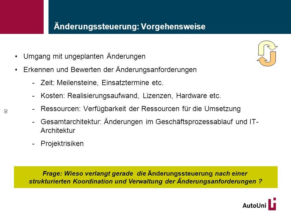 Änderungssteuerung: Vorgehensweise Umgang mit ungeplanten Änderungen Erkennen und Bewerten der Änderungsanforderungen -Zeit: Meilensteine, Einsatztermine etc.