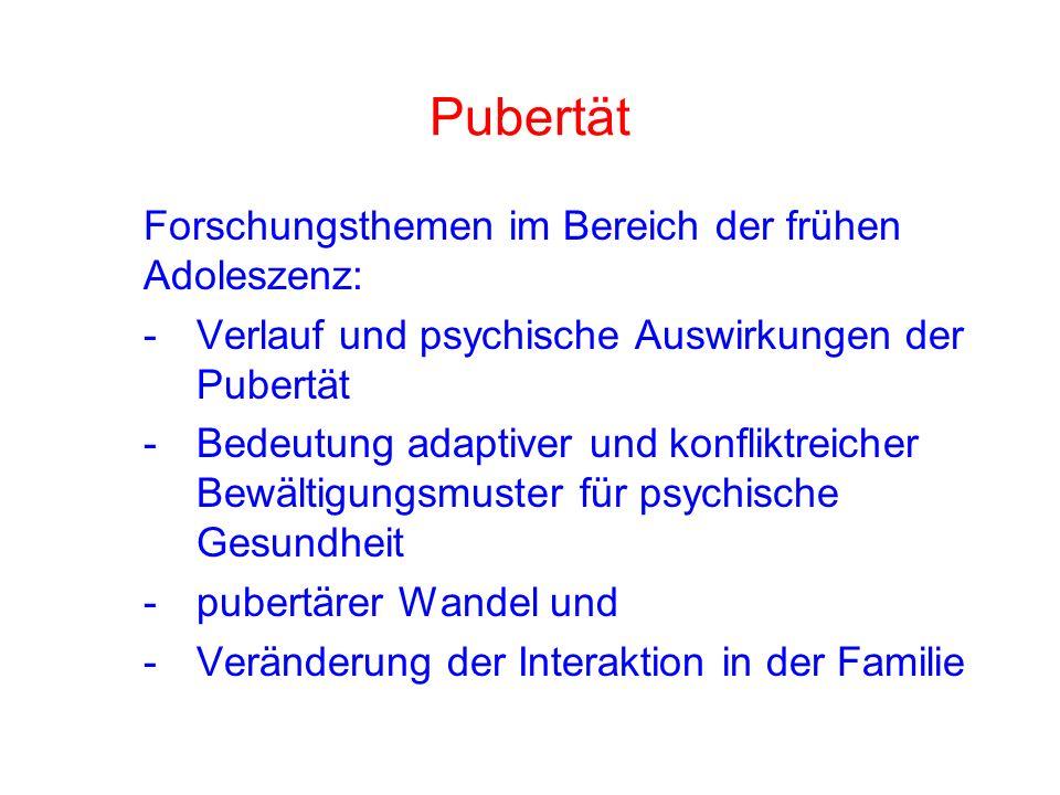 Pubertät Forschungsthemen im Bereich der frühen Adoleszenz: - Verlauf und psychische Auswirkungen der Pubertät - Bedeutung adaptiver und konfliktreicher Bewältigungsmuster für psychische Gesundheit - pubertärer Wandel und - Veränderung der Interaktion in der Familie