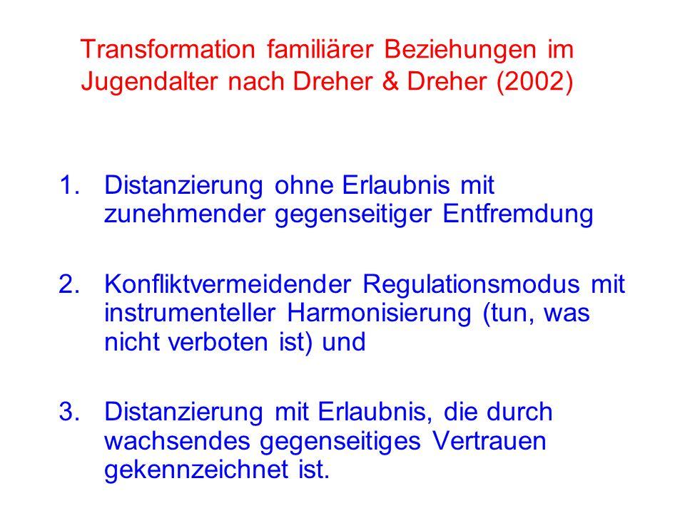 1.Distanzierung ohne Erlaubnis mit zunehmender gegenseitiger Entfremdung 2.Konfliktvermeidender Regulationsmodus mit instrumenteller Harmonisierung (tun, was nicht verboten ist) und 3.Distanzierung mit Erlaubnis, die durch wachsendes gegenseitiges Vertrauen gekennzeichnet ist.