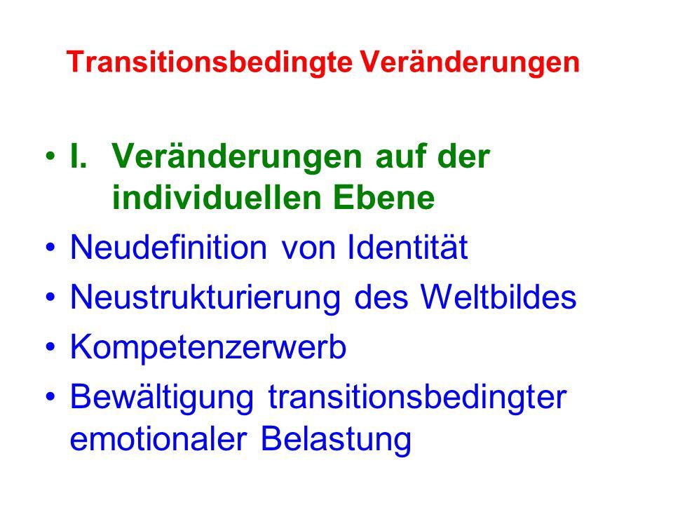 I.Veränderungen auf der individuellen Ebene Neudefinition von Identität Neustrukturierung des Weltbildes Kompetenzerwerb Bewältigung transitionsbedingter emotionaler Belastung Transitionsbedingte Veränderungen
