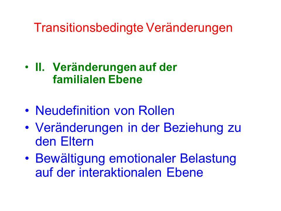 Adoleszenz: 12 - 18 Jahre (nach Dreher & Dreher, 1985) 1.Neuere und reifere Beziehungen zu Altersgenossen beider Geschlechts aufbauen 2.Übernahme der männlichen/weiblichen Geschlechtsrolle 3.Akzeptieren der eigenen körperlichen Erscheinung und effektive Nutzung des Körpers 4.Emotionale Unabhängigkeit von den Eltern und anderen Erwachsenen 5.Vorbereitung auf Ehe und Famlienleben 6.Vorbereitung auf eine berufliche Karriere 7.Werte und ein ethisches System erlangen, das als Leitfaden für Veralten dient - Entwicklung einer Ideologie 8.Sozial verantwortliches Verhalten erstreben und erreichen.