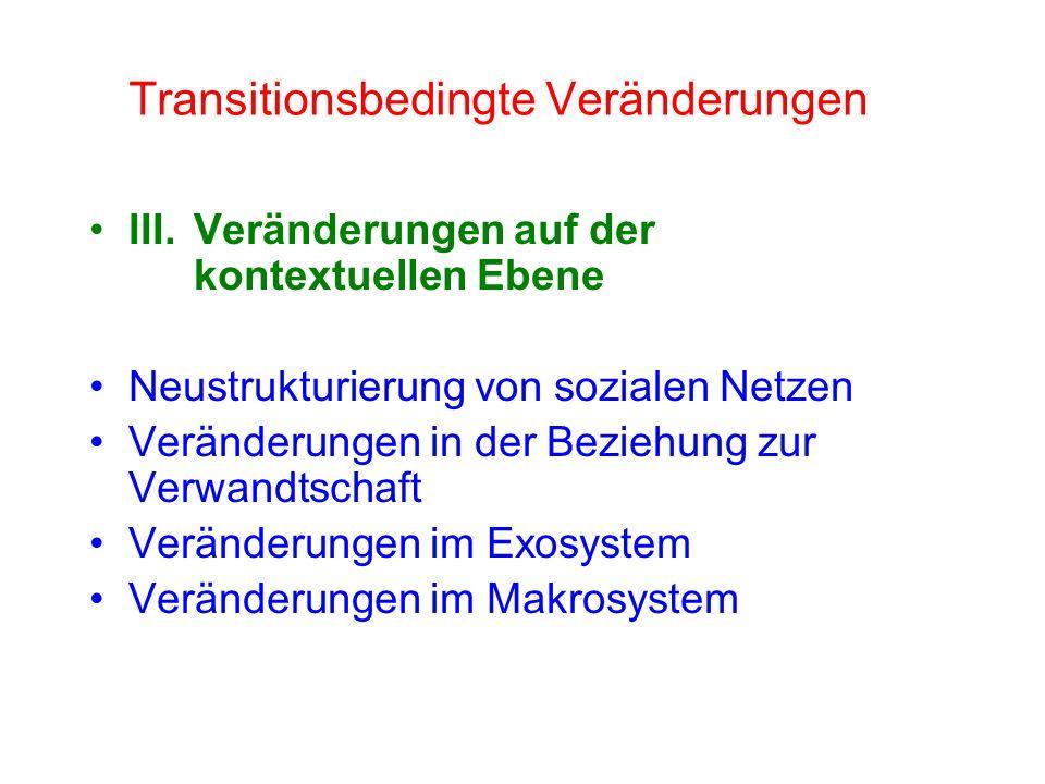 III.Veränderungen auf der kontextuellen Ebene Neustrukturierung von sozialen Netzen Veränderungen in der Beziehung zur Verwandtschaft Veränderungen im Exosystem Veränderungen im Makrosystem Transitionsbedingte Veränderungen