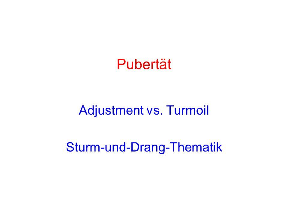 Pubertät Adjustment vs. Turmoil Sturm-und-Drang-Thematik