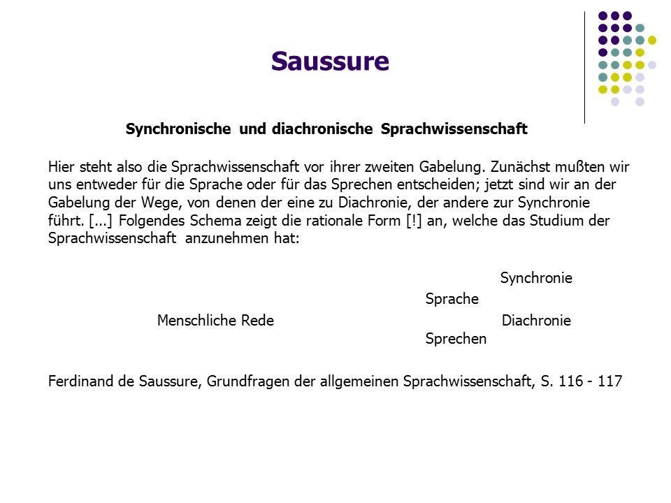 Saussure Synchronische und diachronische Sprachwissenschaft Hier steht also die Sprachwissenschaft vor ihrer zweiten Gabelung.