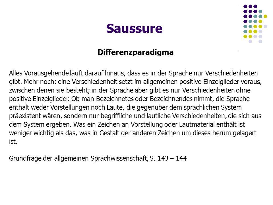 Saussure Differenzparadigma Alles Vorausgehende läuft darauf hinaus, dass es in der Sprache nur Verschiedenheiten gibt.