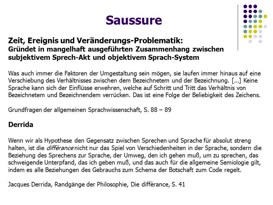 Saussure Zeit, Ereignis und Veränderungs-Problematik: Gründet in mangelhaft ausgeführten Zusammenhang zwischen subjektivem Sprech-Akt und objektivem Sprach-System Was auch immer die Faktoren der Umgestaltung sein mögen, sie laufen immer hinaus auf eine Verschiebung des Verhältnisses zwischen dem Bezeichnetem und der Bezeichnung.