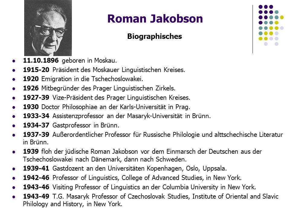 Roman Jakobson Biographisches 11.10.1896 geboren in Moskau.