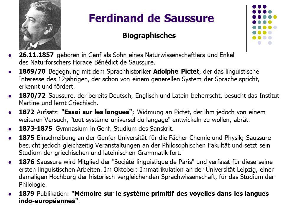 Ferdinand de Saussure Biographisches 26.11.1857 geboren in Genf als Sohn eines Naturwissenschaftlers und Enkel des Naturforschers Horace Bénédict de Saussure.