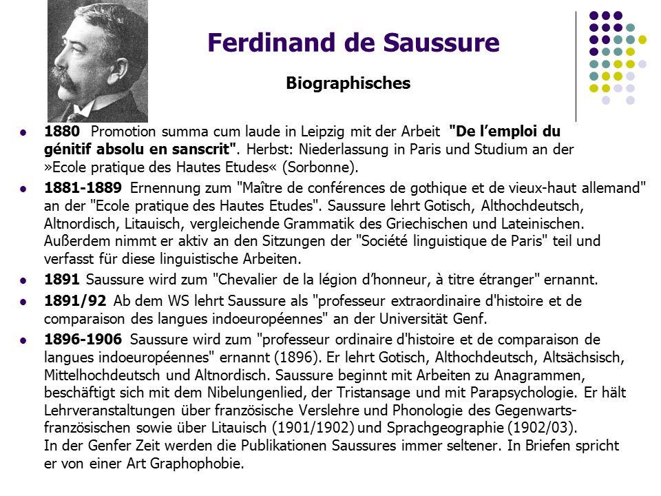 Ferdinand de Saussure Biographisches 1880 Promotion summa cum laude in Leipzig mit der Arbeit De l'emploi du génitif absolu en sanscrit .