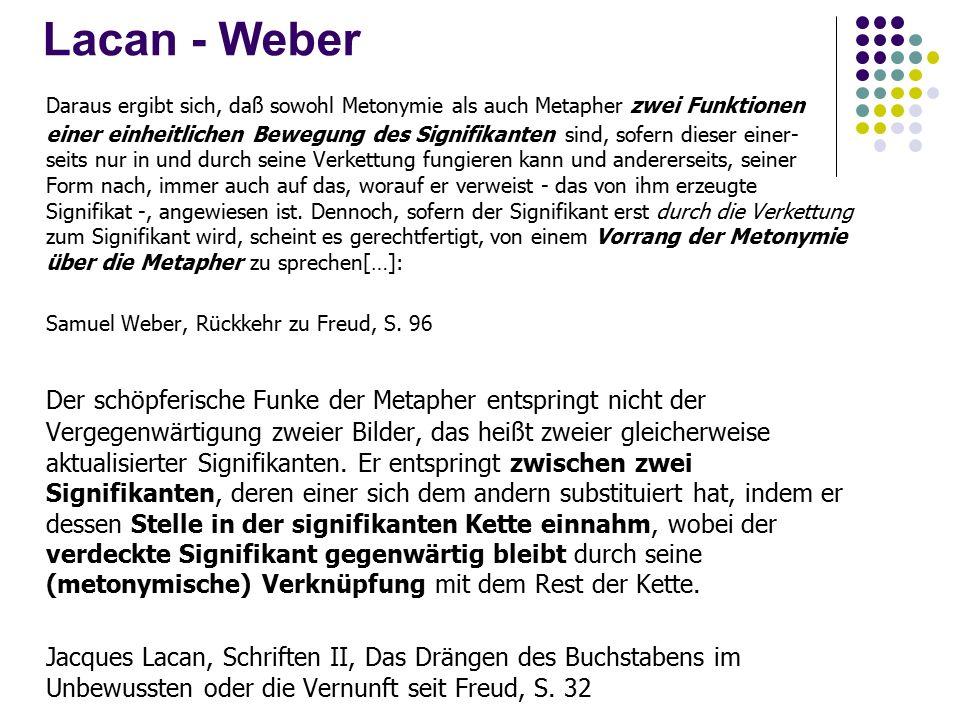 Lacan - Weber Daraus ergibt sich, daß sowohl Metonymie als auch Metapher zwei Funktionen einer einheitlichen Bewegung des Signifikanten sind, sofern dieser einer- seits nur in und durch seine Verkettung fungieren kann und andererseits, seiner Form nach, immer auch auf das, worauf er verweist - das von ihm erzeugte Signifikat -, angewiesen ist.