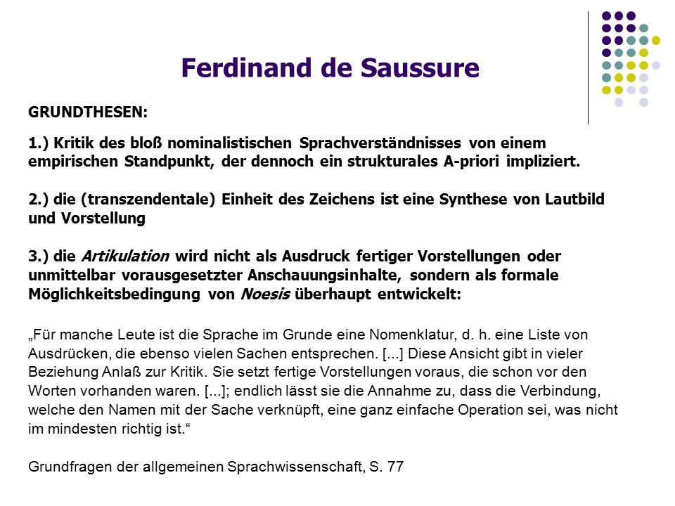 Ferdinand de Saussure GRUNDTHESEN: 1.) Kritik des bloß nominalistischen Sprachverständnisses von einem empirischen Standpunkt, der dennoch ein strukturales A-priori impliziert.
