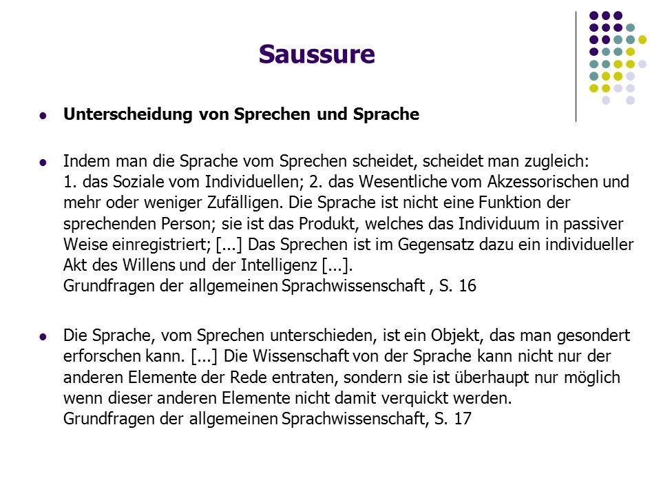 Saussure Unterscheidung von Sprechen und Sprache Indem man die Sprache vom Sprechen scheidet, scheidet man zugleich: 1.