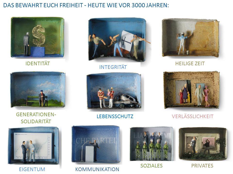 IDENTITÄT GENERATIONEN- SOLIDARITÄT LEBENSSCHUTZ PRIVATES INTEGRITÄT HEILIGE ZEIT VERLÄSSLICHKEIT EIGENTUMKOMMUNIKATION SOZIALES DAS BEWAHRT EUCH FREIHEIT - HEUTE WIE VOR 3000 JAHREN: