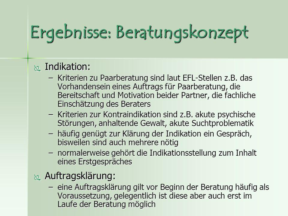 Ergebnisse: Beratungskonzept  Indikation: –Kriterien zu Paarberatung sind laut EFL-Stellen z.B.