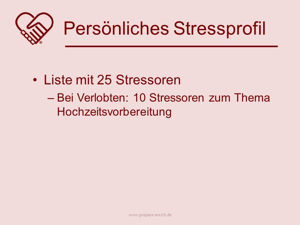 Liste mit 25 Stressoren –Bei Verlobten: 10 Stressoren zum Thema Hochzeitsvorbereitung Persönliches Stressprofil www.prepare-enrich.de