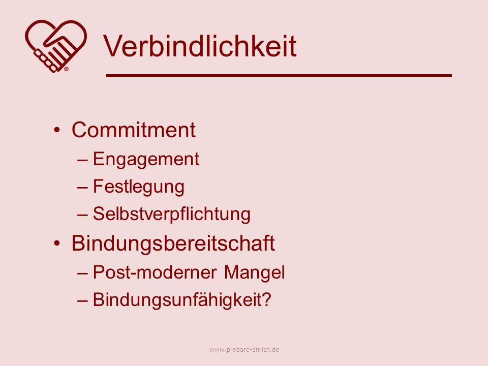 Commitment –Engagement –Festlegung –Selbstverpflichtung Bindungsbereitschaft –Post-moderner Mangel –Bindungsunfähigkeit.
