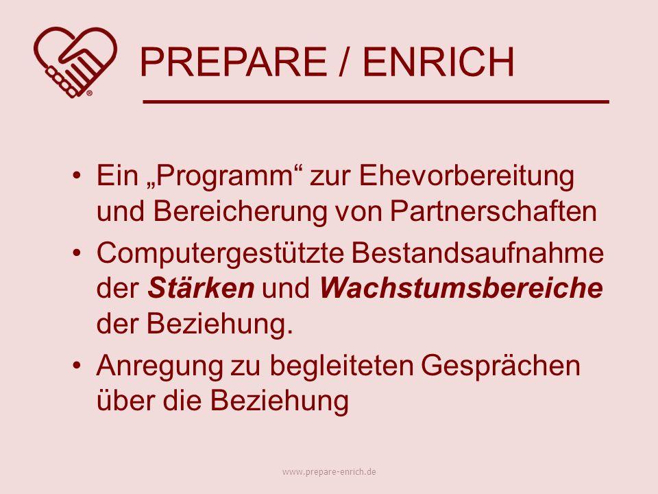 """Ein """"Programm zur Ehevorbereitung und Bereicherung von Partnerschaften Computergestützte Bestandsaufnahme der Stärken und Wachstumsbereiche der Beziehung."""