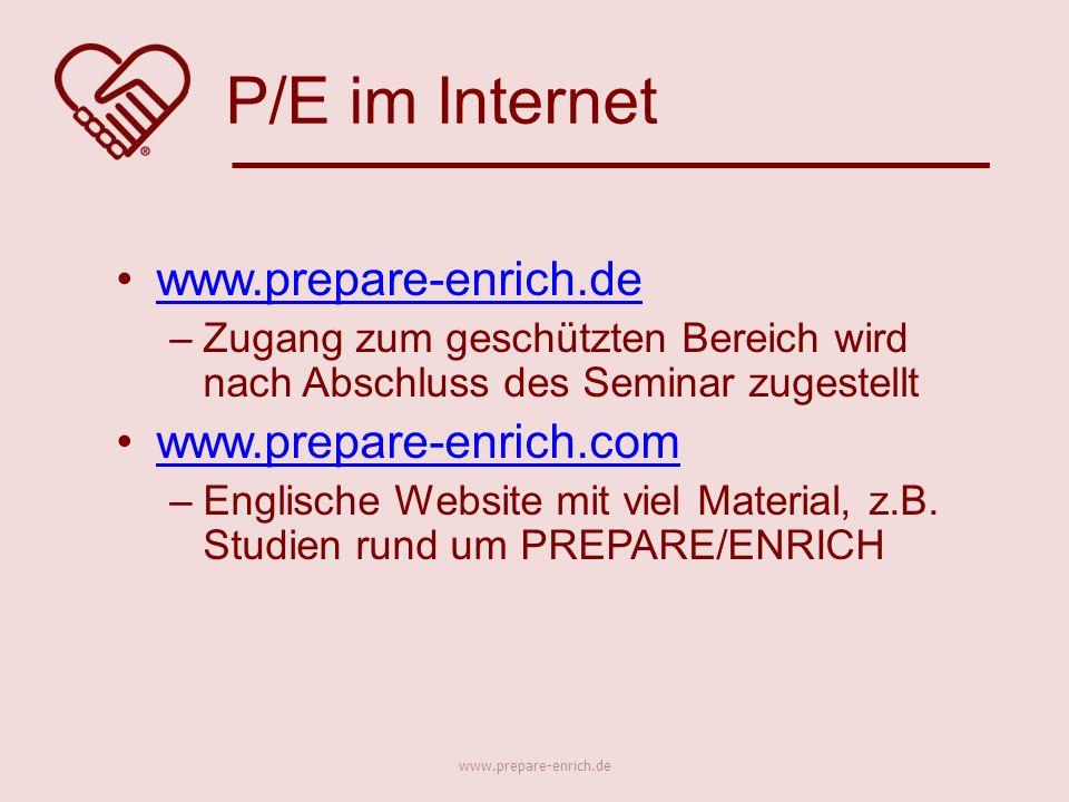 –Zugang zum geschützten Bereich wird nach Abschluss des Seminar zugestellt www.prepare-enrich.com –Englische Website mit viel Material, z.B.