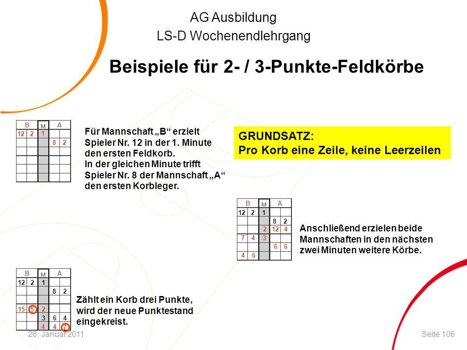 """AG Ausbildung LS-D Wochenendlehrgang B A Für Mannschaft """"B"""" erzielt Spieler Nr. 12 in der 1. Minute den ersten Feldkorb. In der gleichen Minute trifft"""