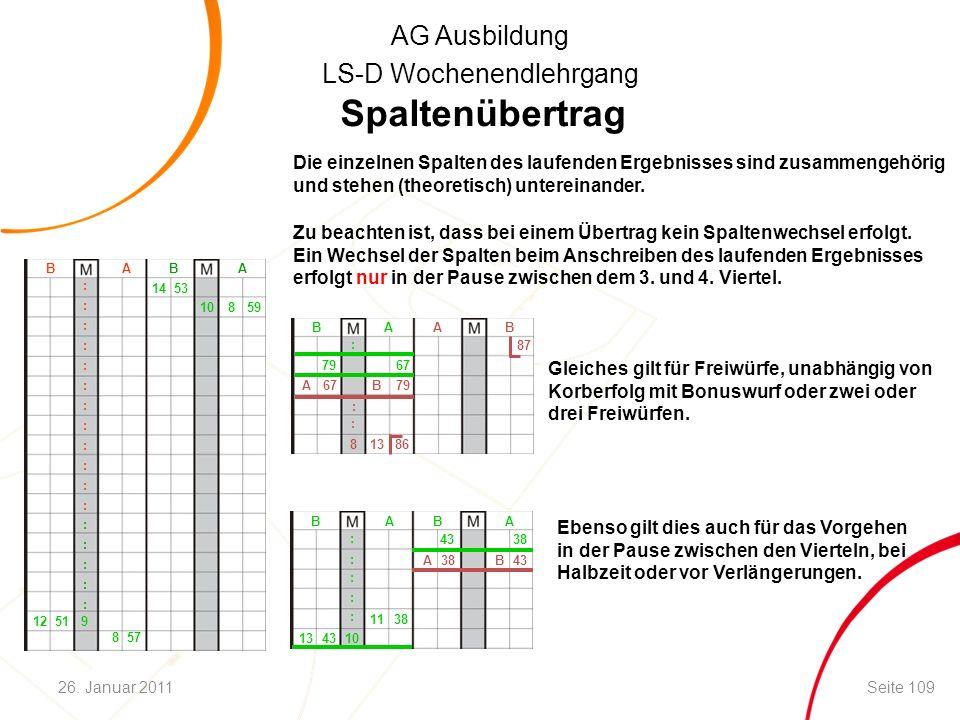 AG Ausbildung LS-D Wochenendlehrgang Spaltenübertrag Die einzelnen Spalten des laufenden Ergebnisses sind zusammengehörig und stehen (theoretisch) unt