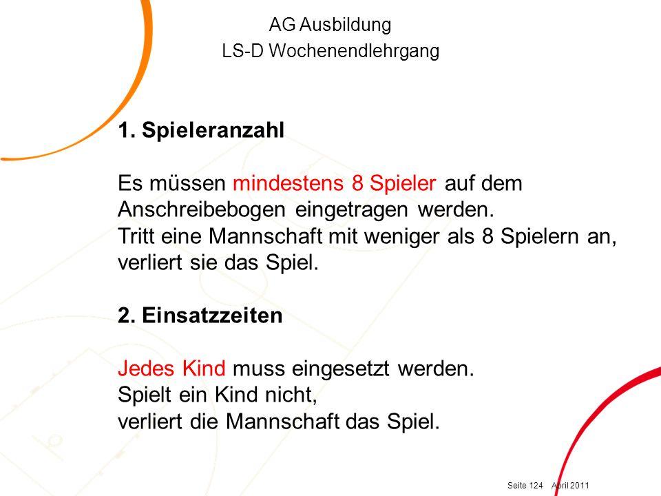 AG Ausbildung LS-D Wochenendlehrgang 1.
