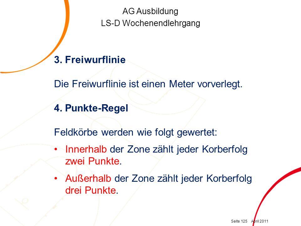 AG Ausbildung LS-D Wochenendlehrgang 3. Freiwurflinie Die Freiwurflinie ist einen Meter vorverlegt. 4. Punkte-Regel Feldkörbe werden wie folgt gewerte