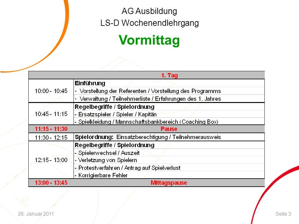 AG Ausbildung LS-D Wochenendlehrgang Vormittag Seite 326. Januar 2011