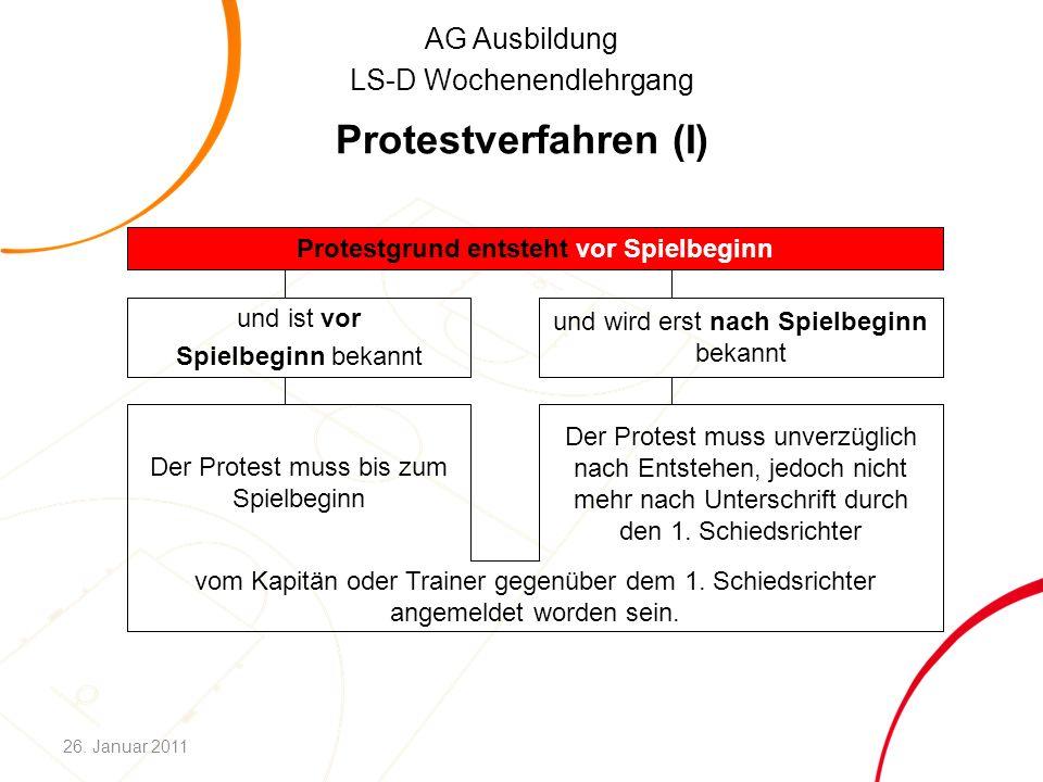 AG Ausbildung LS-D Wochenendlehrgang Protestverfahren (I) vom Kapitän oder Trainer gegenüber dem 1. Schiedsrichter angemeldet worden sein. Der Protest