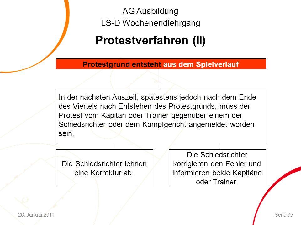 AG Ausbildung LS-D Wochenendlehrgang Protestverfahren (II) Die Schiedsrichter korrigieren den Fehler und informieren beide Kapitäne oder Trainer. Die